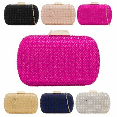 New Criss Cross Pattern Diamante Hardcase Box Women's Evening Clutch Bag