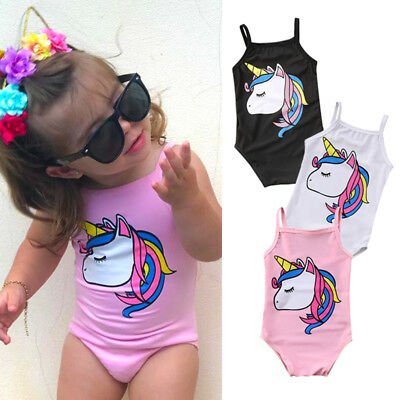UK Cute Newborn Kids Baby Girl Unicorn Swimwear Swimsuit Bathing Suit Beachwear