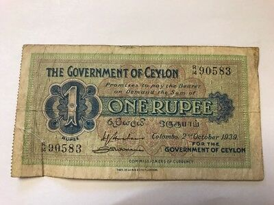 Ceylon 1939 Paper money One Rupee Note