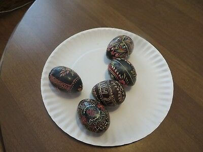 POLISH EASTER EGGS Wooden PYSANKY Hand Painted Lot of 5