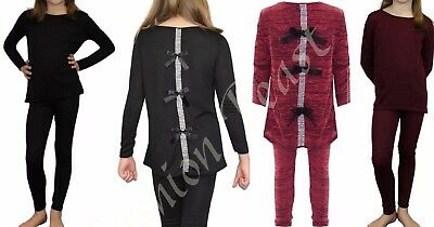 As Kids Childrens Girls Pyjama Diamante Bow Back Lounge Wear Set Top Tracksuit