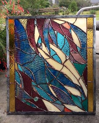 Stained Glass  Abstract Window Suncatcher  Panel Divider Transom