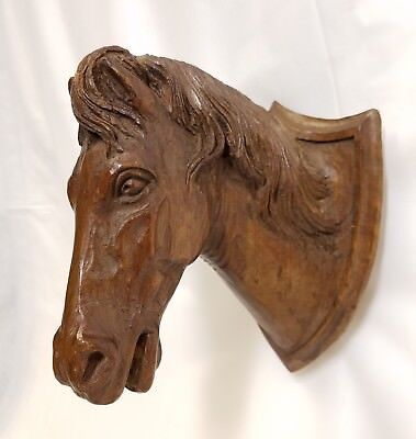 Antique Hand Carved Horse Head Bust Wall Mount