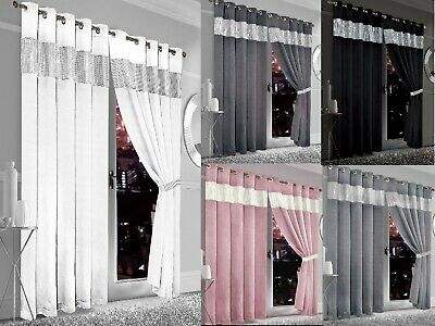 Luxury Diamante Thermal Blackout Curtains Pair Ready Made Eyelet Top & Tie Backs