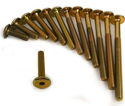 M6 Gold Brass Yellow Furniture Connector Bolts Joint Fixing Unit Cot Bed Table