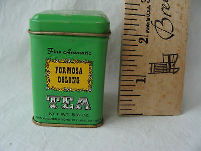 Vintage John Wagner & Sons Tin Formosa Oolong w/ Tea Mini Metal Container