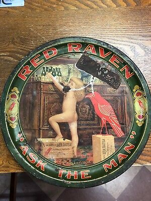 Antique Red Raven Splits,  Ask The Man, Tin Litho Tray