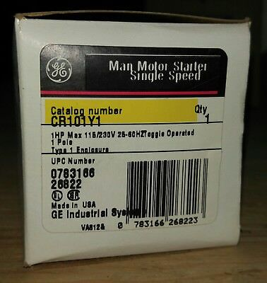 *NOS* *NIB* GE CR101Y1 Man Motor Starter Single Speed *FREE SHIPPING!!!!!!!!!!!*