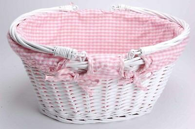 White Wicker Basket  with Handles Pink or Blue Craft, Baby, Shopper