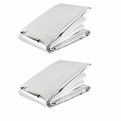 2 x FOIL SPACE BLANKET EMERGENCY SURVIVAL BLANKET THERMAL RESCUE FIRST AID