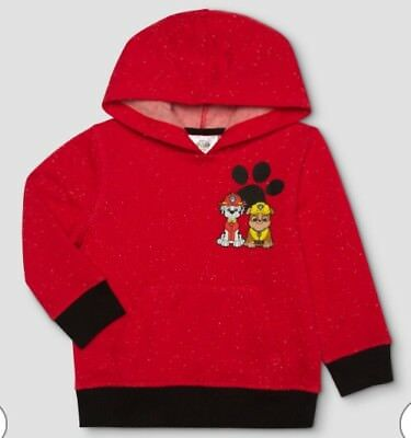 New Paw Patrol Toddler Boys Sweatshirt Hoodie Red Marshall Rubble Chase Size 18M