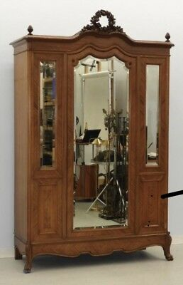 Large French Mirrored Armoire
