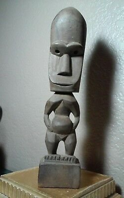 Interesting old hand carved wooden possible African, pacific islands sculpture