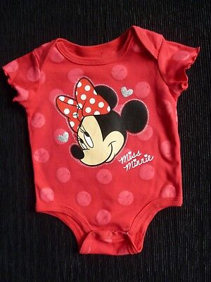Baby clothes GIRL 3-6m Disney Minnie Mouse red spot soft cotton bodysuit/top