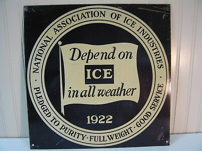 Vintage Metal Advertising Sign for Nat. Assoc.of Ice Industries-Painted.