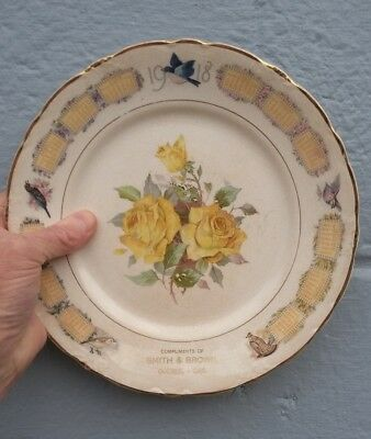 Vintage 1918 Calander Plate - Compliments of Smith & Brown, Quebec - CAN