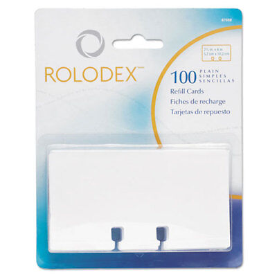 Rolodex Plain Unruled Refill Card, 2 1/4 x 4, White, 100 Cards/Pack