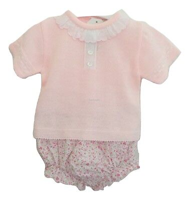 Baby Girls Adorable Spanish Style Frilled Neck Knitted Top & Floral Jam Pants