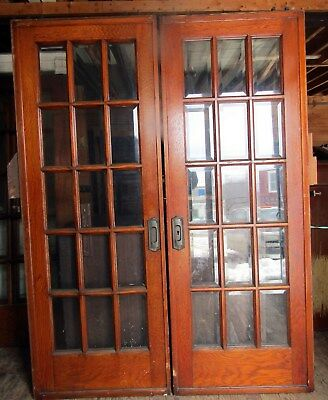 Pair Of Oak Beveled Glass French Pocket Doors W Track & Trollies