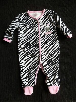 Baby clothes GIRL 3-6m Babytown zebra,animal print B/W pink soft velour babygrow