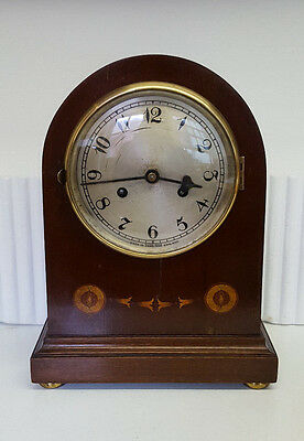 Vintage Inlay Mahogany Bracket Clock with Strike