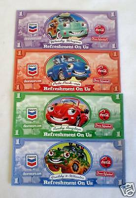 Chevron Cars Dollars-Made In 2000- Two Sets  Of Four