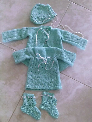 Vintage Handmade Crocheted Newborn/Baby Clothes 5 Piece Set w Ribbon