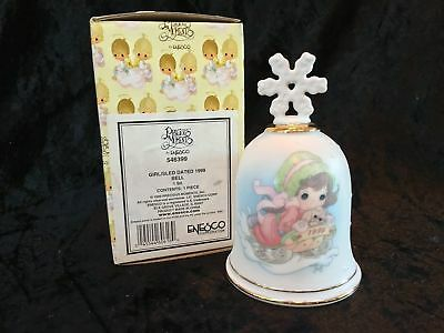 Precious Moments Bell #546399 1999 Sliding Into the New Century Girl w/ Sled MIB