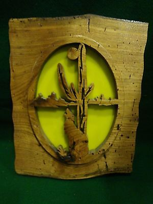 Vintage Wood Hand Carved Southwest Picture Wall Art with Cactus and Coyote