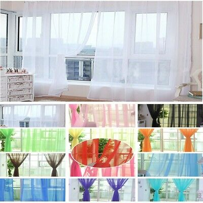 1Pc Room Floral Tulle Voile Door Window Curtain Drape Panel Sheer Valance White