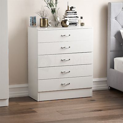 Riano Chest Of Drawers White 5 Drawer Metal Handles Runners Bedroom Furniture