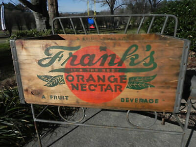 Frank's Orange Nectar Wood Bottle Crate Carrier Box Wood Baltimore