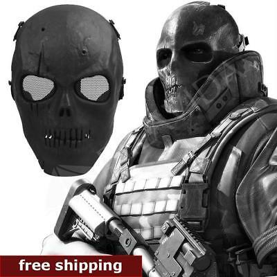Mask Airsoft Face Tactical Metal Mesh Paintball Half Skull Full Protective Game
