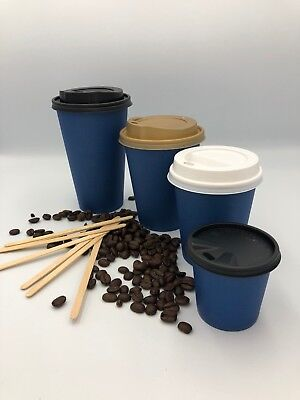 100 x 4/8/12/16oz Disposable Coffee PAPER CUPS BLUE Cold/Hot Drinks & SIP LIDS