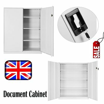 Metal Office Storage Lockable Filing Cabinet Tool Cupboard & 3 Shelves Organiser
