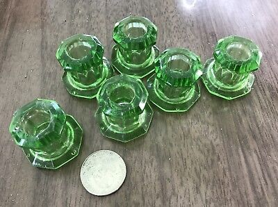 Set 6 antique green glass cabinet knobs part of push button latch system as-is