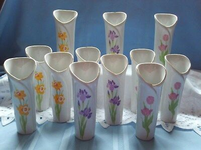 Bud Vases Designers Collection Spring Love Lot 12 Tulips* Iris * Daffodil 4 each