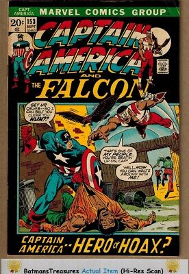Captain America #153 (5.5) Fine- 1st Jack Monroe Cameo Appearance 1972 Key Issue