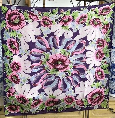 Vintage Silk Scarf 34.5x34 Floral Ribbons Bows Purple Red Blue Pink