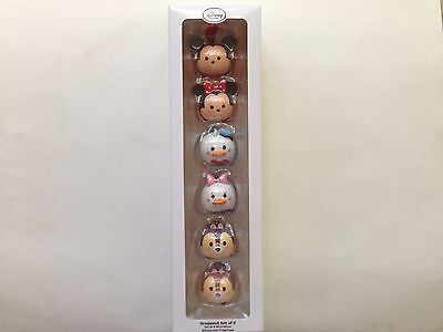 Disney Tsum Tsum Resin Ornament Set Christmas Mickey Minnie Chip Dale Donald New