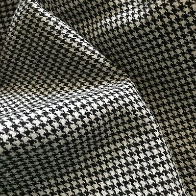 Antique 20's 30's Wool Houndstooth Fabric Scrap Black White