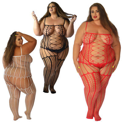 UK 6-28 Transparent Fishnet Bodysuit Body Stocking Stripes Lot Plus Size Curvy