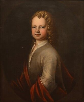 Fine Antique Early 18th Century Portrait Of A Boy Oil On Canvas Painting D'AGAR