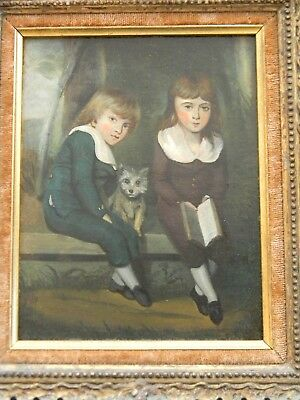 ANTIQUE 18th C. FOLK ART PAINTING of TWO CHILDREN AND A DOG