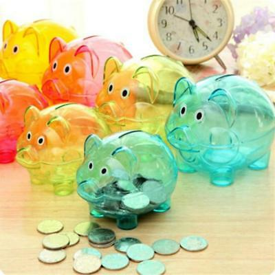 Clear PIGGY Bank Coin Money PP Cash Openable Saving Case Box Kids Pig Gifts FI