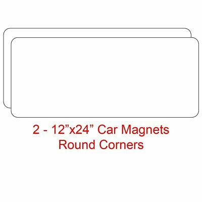 "2 - 12""x24"" Blank Magnetic Sign Sheets - Blank Car Magnet Signs, 30 Mil. Round"