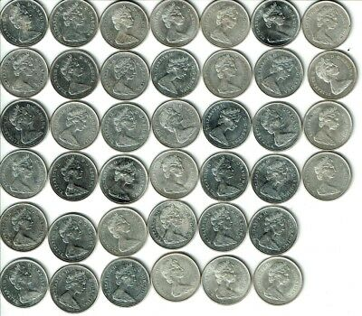 Full Roll of (40) 1967 Canada Silver 25 Cents -- AU/BU