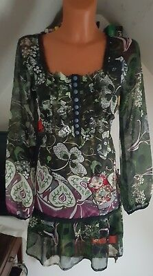 DESIGUAL♥TUNIKA KLEID👄SEXY RUSSIAN DRESS👄GR.42/44 L/XL JEANS*HIPPIE*BOHO*w.NEU