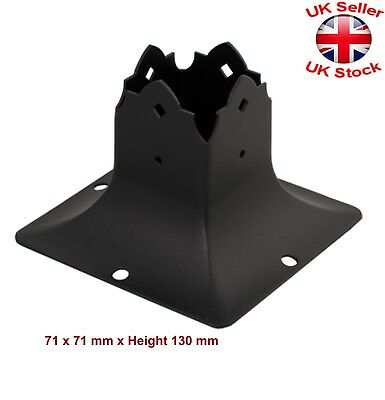 """Black Decorative Square Post Fence Foot Base Cover Size: 71x71mm (2-3/4"""")"""