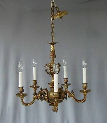 Beautiful Antique Gilt Bronze 5 Light Chandelier With 10 Mythical Heads